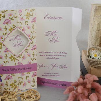 Çiçekli özel kesim davetiye