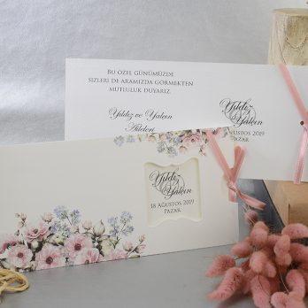 Çiçekli özel kesim kurdaleli davetiye