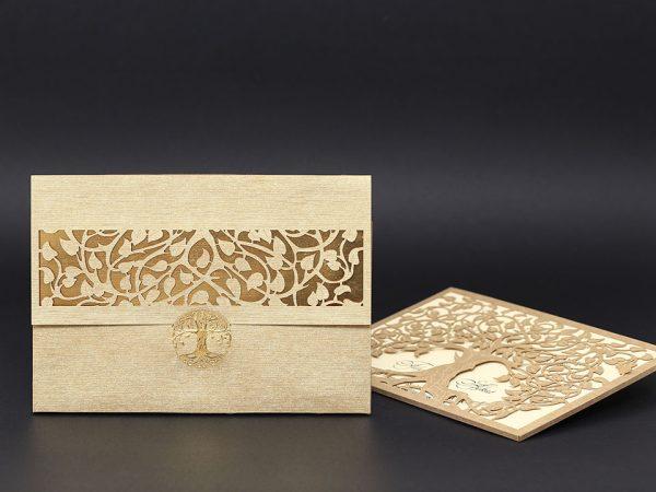 Ağaç Kesimli Davetiye Modeli Alyans davetiye