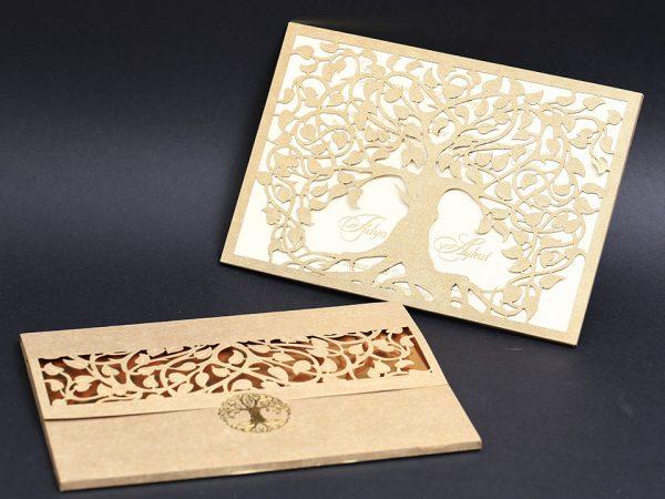 Ağaç Kesimli Davetiye Modeli Zarflı