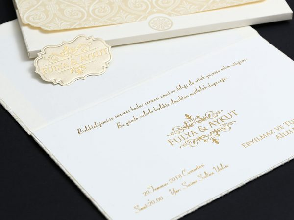 Kadife Krem davetiye baskısı