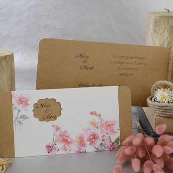 Kraft çiçekli davetiye