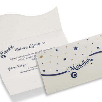 Maşallahlı yıldızlı sünnet davetiyesi