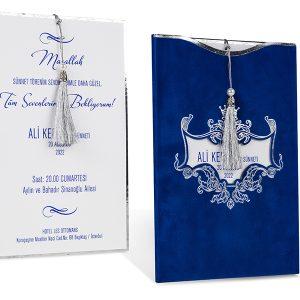 Mavi gümüş püsüllü sünnet davetiyesi
