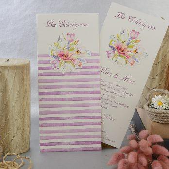 Mor beyaz çiçekli davetiye