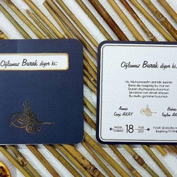 Osmanlı Tuğralı sünnet davetiyesi
