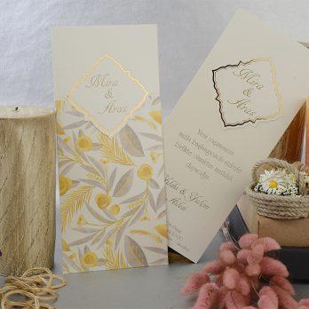 Yaldızlı çiçekli davetiye